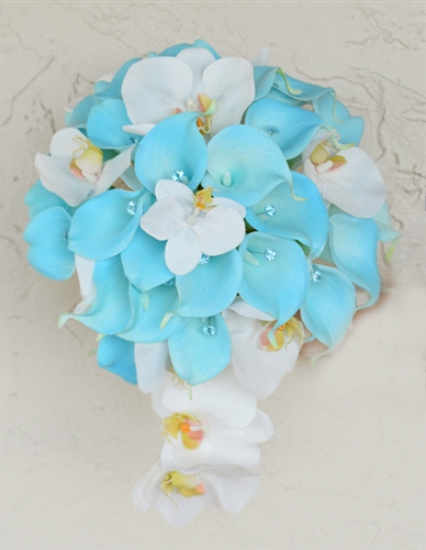 Natural Touch White and Turquoise Callas with Lilac Orchids Cascade Bouquet