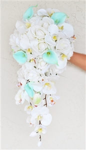 Natural Touch Aqua Tiffany Callas with Off White Roses and Orchids Silk Wedding Bouquet