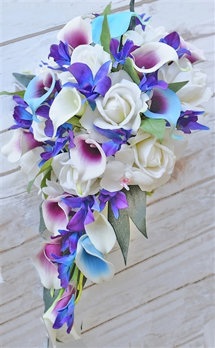Natural Touch Purple Blue Orchids Cascading Bouquet