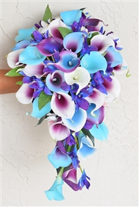 Natural Touch  Purple Blue Orchids and Callas Silk Cascading Bouquet