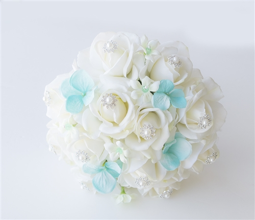 Natural Touch Off White Roses, Turquoise Hydrangea and Bling Accents Silk Wedding Bouquet