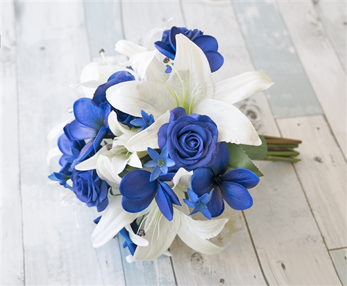 Off White Lilies with Blue Roses and Plumerias Natural Touch Silk Wedding Bouquet