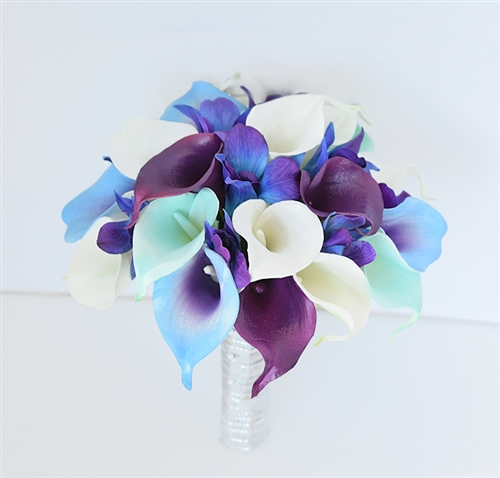 Natural Touch Turquoise Purple Calla Lily Bouquet