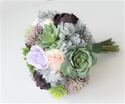 Succulent Boho Woodland Natural Touch Wedding Bouquet - Green, Plum, Lilac and Gray Accents Silk Wedding Peonies, Roses & Hydrangea