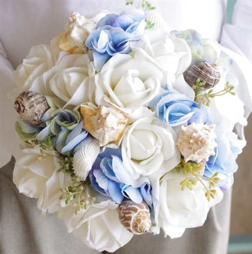 Natural Touch Roses. Blue Hydrangeas Seashell Bouquet