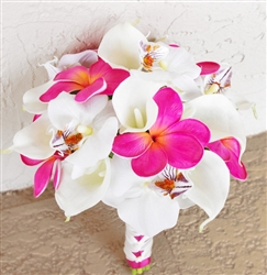Natural Touch Wedding Bouquet Callas and Fuchsia Plumerias and Orchids Silk Wedding Bouquet