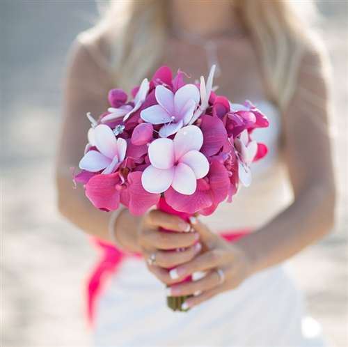 Fuchsia & Purple Plumerias, Orchids & Callas Bouquet