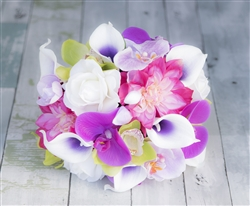 Fuchsia, Purple & Green Tropical Mix Bouquet - Roses, Callas and Orchids - Silk Real Touch Wedding Flowers