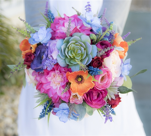 Boho Mix Coor Bouquet - Orange, Fuchsia, Purple, Green & Blue Succulent, Poppy, Peonies Real Touch Bouquet