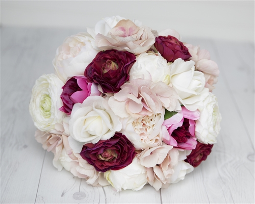 Peonies, Roses & Ranunculus Blush, Off White and Magenta Burgundy Bouquet - Real Touch Silk Wedding Bouquet
