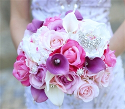 Lilac, Violet and Pink Roses, Callas and Peonies Natural Touch Bouquet