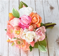 Natural Touch Fuchsia and Orange Seashells Bouquet