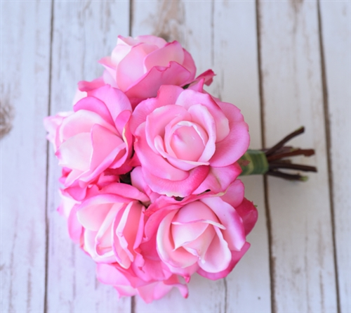Fuchsia Hot Pink Real Touch Roses Silk Wedding Flower Bouquet