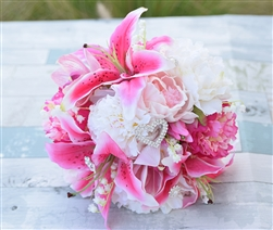 Stargazers, Peonies and Roses Real Touch Silk Wedding Bouquet