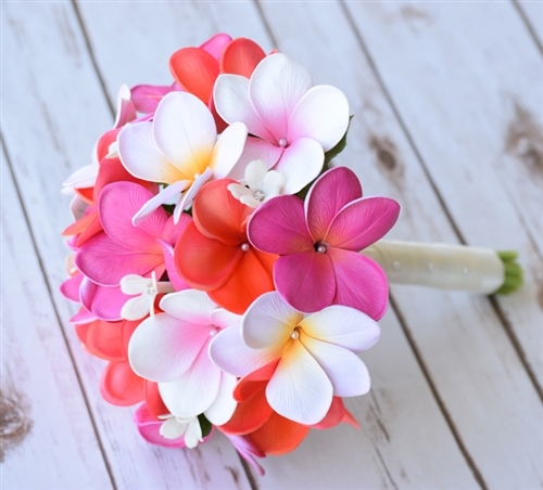Natural Touch Plumerias Color Fuchsia Pink Coral Mix Silk Wedding Bouquet