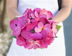 Natural Touch Fuchsia Orchids and Plumerias Silk Wedding Bouquet