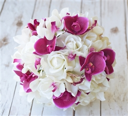 Natural Touch Fuchsia Orchids & Roses Silk Wedding Bouquet