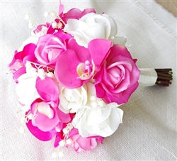 Natural Touch Fuchsia Roses and Orchids Bouquet