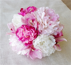 Natural Touch Fuchsia Orchids and Peonies Bouquet