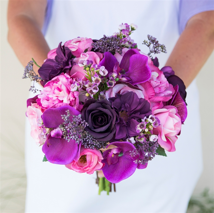 Purple plum fuchsia lilac violet flower mix silk wedding bouquet alternative views mightylinksfo