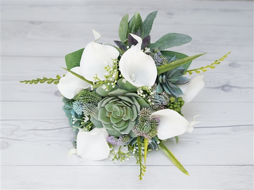Real Touch Succulents, Callas & Roses Silk Wedding Bouquet