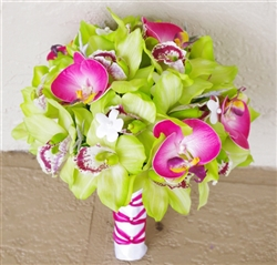Real Touch Green & Fuchsia Orchids Silk Wedding Bouquet