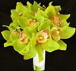 Real Touch Green Cymbidium Orchids Silk Wedding Bouquet