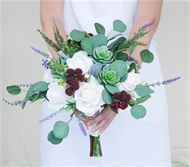 Natural Touch Green Succulents Bouquet - Garden Fresh Silk Wedding Bouquet