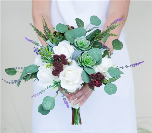 Hand Tied Succulent and Lavender Sprays Boho Chic Rustic Silk Wedding Bouquet
