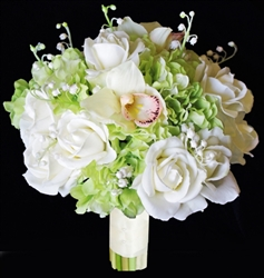 Real Touch Roses, Hydrangeas and Orchids Green Silk Wedding Bouquet