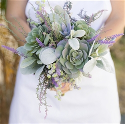 "Garden ""Fresh"" Succulent and Lavender Fillers Wedding Real Touch Silk Bouquet"