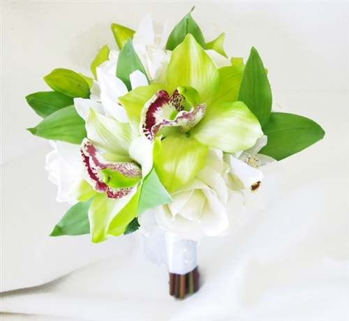 Off White Natural Touch Roses & Green Cymbidium Orchids Bouquet
