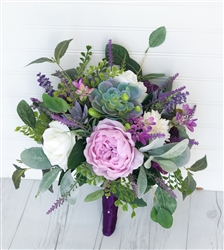 Natural Touch Purple Lilac Peonies, Succulents, Roses and Sprays Silk Wedding Bouquet