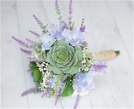 "Lavender Lilac Garden ""Fresh"" Succulent and Lavender Fillers Wedding Real Touch Silk Bouquet"