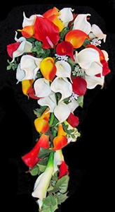 Natural Touch Off White Roses, Red & Orange Calla Lilies Cascade Bouquet