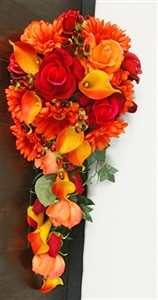 Natural Touch Red & Orange Calla Lilies, Roses and Gerbera Daisies Cascade Bouquet