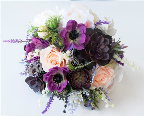 Real Touch Bouquet in a Purple Plum Peach & Blush Mix. A freshly gathered look with lots of fillers. Succulent, Roses  and Peonies Silk Wedding Bouquet.