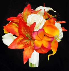 Natural Touch Orange Calla and Lilies Bouquet