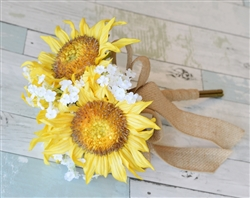 Silk Wedding Yellow Sunflower Bouquet