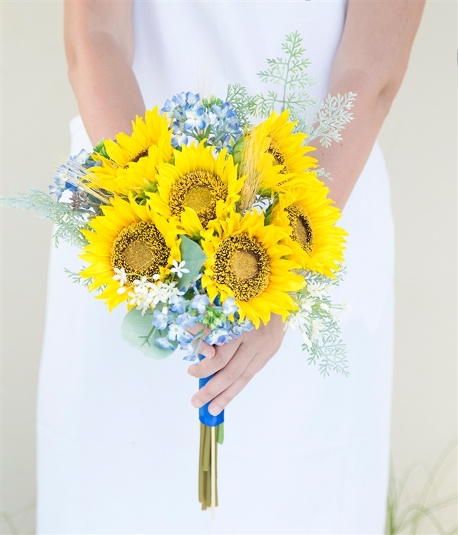 Sunflowers And Filler Sprays Yellow Blue Rustic Chic Silk Wedding