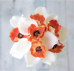 Real Touch Off White Calla Lilies and Orange Poppies Bouquet