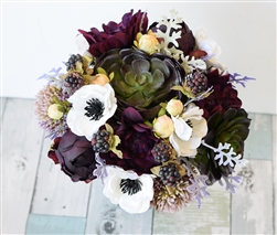 Purple Plum Green Natural Touch Wedding Bouquet - Succulents, Anemone, Peonies and Berries Silk Fall Wedding Bouquet