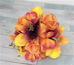 Natural Touch Deep Rich mix with Wine/Orange Two Tone Lilies, Tropical Punch Plumerias, Yellow Callas and Orange Roses.