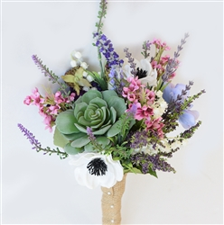Succulent Sprays Woodland Boho Bouquet - Lavender Purple and Pink Fillers