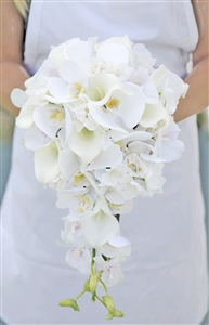 Natural Touch Off White Orchids and Calla Liles Cascading Bouquet