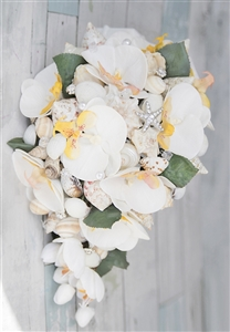 Beach Wedding Flowers - Seashell and Off White Orchids Cascading Bouquet