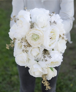 Natural Touch Off White Roses, Peonies and Ranunculus Gold Accents Cascade Bouquet