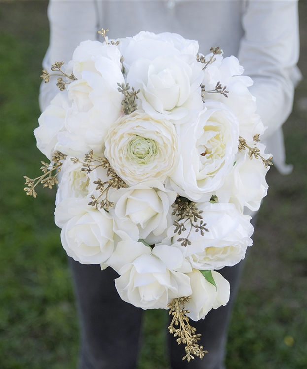 Natural Touch Off White Roses Peonies And Ranunculus Gold