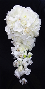 Natural Touch Off White Roses and Orchids Cascading Bouquet