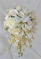 Off White Callas, Lilies and Roses Cascading Bouquet